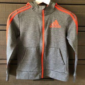 Boys Adidas Hoodie Gray with Orange Stripes